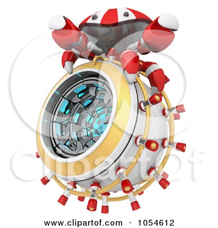 Royalty-Free Rendered Clip Art Illustration of a 3d Red Crab On An Incinerator by Leo Blanchette