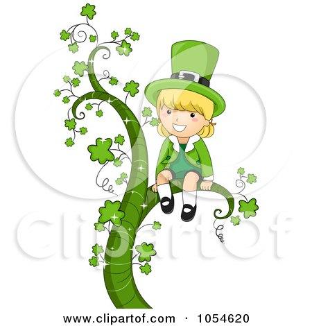 Royalty-Free Vector Clip Art Illustration of a St Patricks Day Leprechaun Girl Sitting On A Shamrock Vine by BNP Design Studio