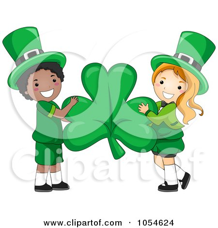 Royalty-Free Vector Clip Art Illustration of a St Patricks Day Leprechaun Boy And Girl Holding A Shamrock by BNP Design Studio