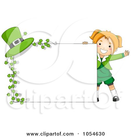 Royalty-Free Vector Clip Art Illustration of a Cute St Patricks Day Girl With A Blank Sign, Clovers And A Hat by BNP Design Studio