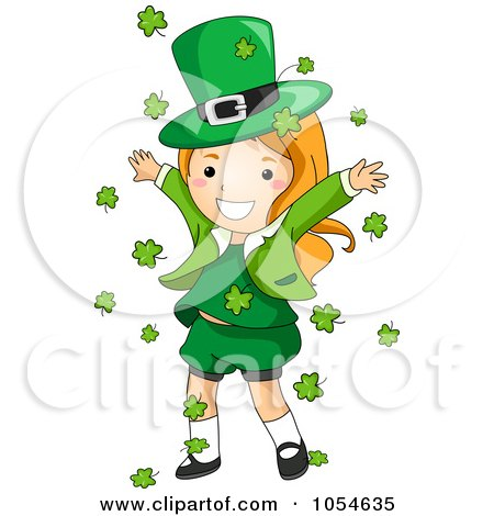 Royalty-Free Vector Clip Art Illustration of a St Patricks Day Leprechaun Girl With Falling Shamrocks by BNP Design Studio