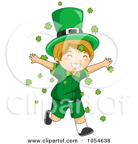 Royalty-Free Vector Clip Art Illustration of a St Patricks Day Leprechaun Boy Running Through Shamrocks by BNP Design Studio