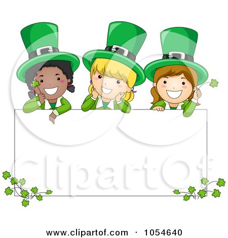 Royalty-Free Vector Clip Art Illustration of St Patricks Day Leprechaun Girls On A Blank Sign by BNP Design Studio