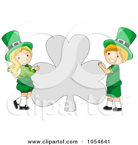 Royalty-Free Vector Clip Art Illustration of a St Patricks Day Leprechaun Boy And Girl Holding A Shamrock Shaped Sign by BNP Design Studio