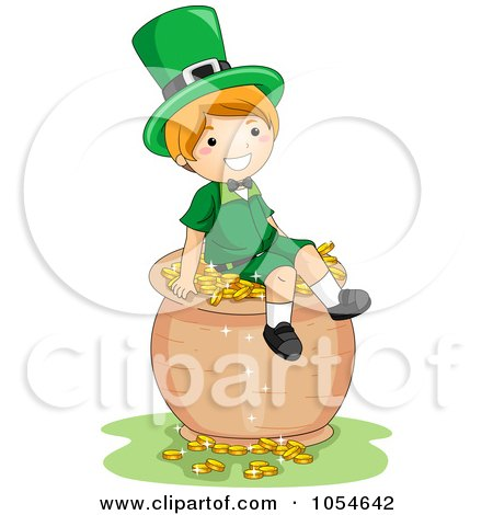 Royalty-Free Vector Clip Art Illustration of a St Patricks Day Leprechaun Boy Sitting On A Pot Of Gold by BNP Design Studio