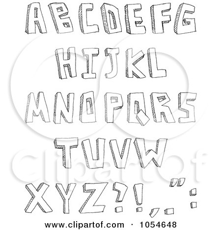 Royalty-Free Vector Clip Art Illustration of a Digital Collage Of Sketched Capital Letters by yayayoyo