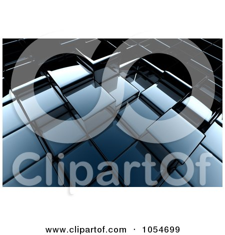 Royalty-Free Clip Art Illustration of a Background of 3d Shiny Cubes by chrisroll