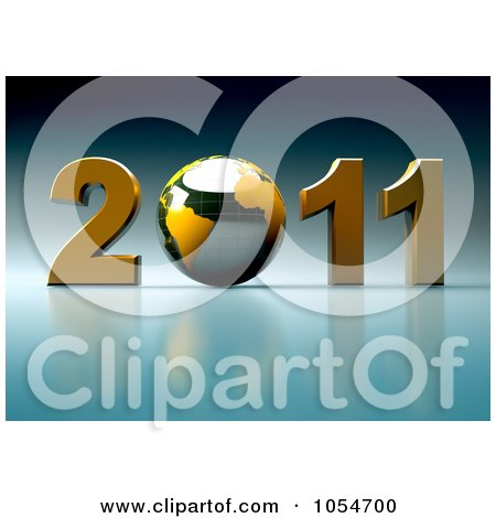 Royalty-Free Clip Art Illustration of a 3d Globe in 2011 by chrisroll