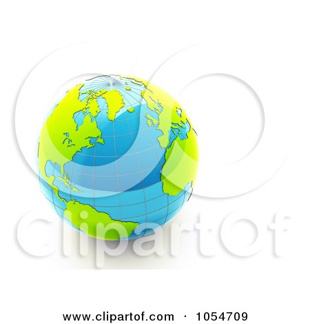 Royalty-Free Clip Art Illustration of a 3d Shiny Blue Earth With Green Continents by chrisroll