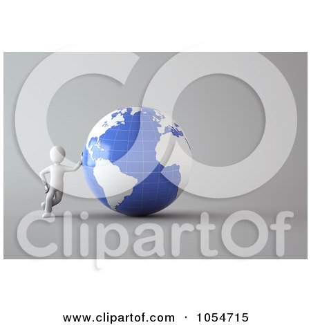 Royalty-Free Clip Art Illustration of a 3d White Person Leaning Against A Blue And White Globe by chrisroll