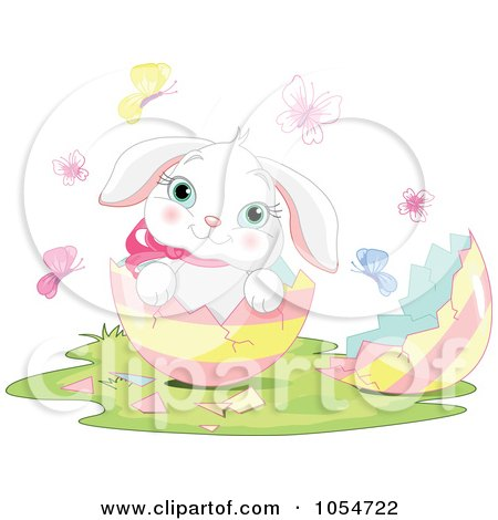 Royalty-Free Vector Clip Art Illustration of an Adorable Baby Easter Bunny In An Egg by Pushkin