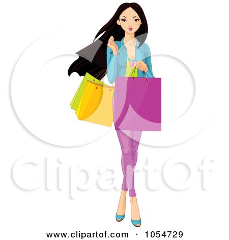 Royalty-Free Vector Clip Art Illustration of a Young Asian Girl Carrying Shopping Bags by Pushkin