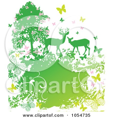 Royalty-Free Vector Clip Art Illustration of Two Deer By A Tree, Surrounded By Butterflies And Grunge by Pushkin