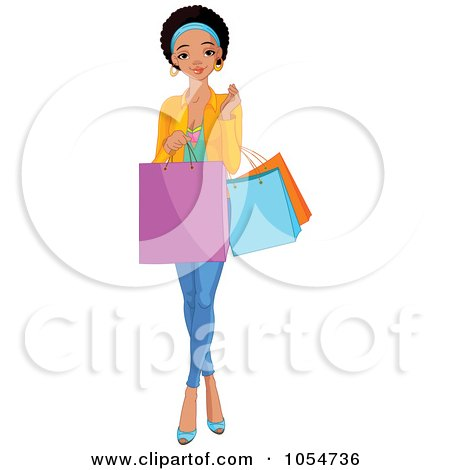 Royalty-Free Vector Clip Art Illustration of a Young Black Girl Carrying Shopping Bags by Pushkin