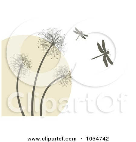 Royalty-Free Vector Clip Art Illustration of a Background Of Dragonflies And Dandelions by vectorace