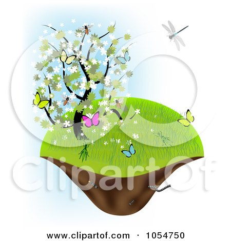 Royalty-Free Vector Clip Art Illustration of a Spring Tree With Butterflies On A Floating Island by vectorace