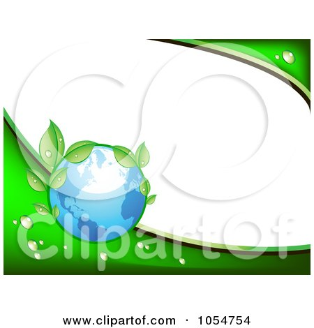 Royalty-Free Vector Clip Art Illustration of a Green Vine And Blue Earth Background With White Copyspace by vectorace