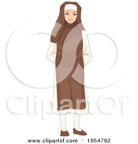 Royalty-Free Vector Clip Art Illustration of a Friendly Nun by BNP Design Studio
