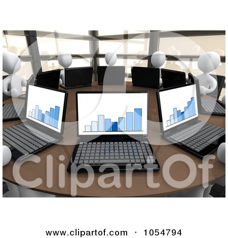 Royalty-Free CGI Clip Art Illustration of 3d White People Working On Laptops In A Statistics Meeting by 3poD