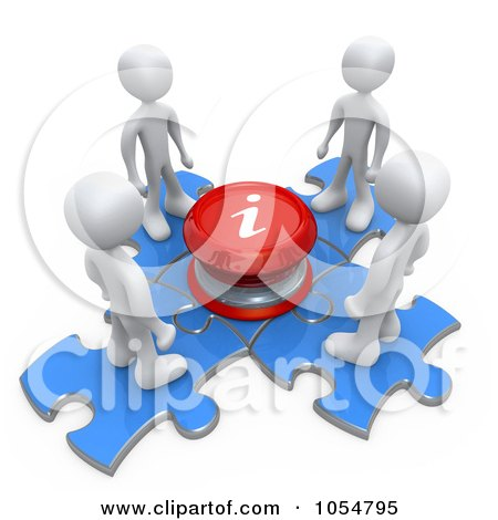 Royalty-Free CGI Clip Art Illustration of 3d White People On Puzzle Pieces At An Information Center by 3poD