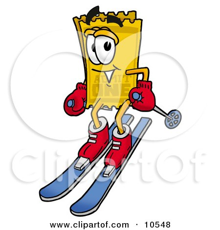 Clipart Picture of a Yellow Admission Ticket Mascot Cartoon Character Skiing Downhill by Toons4Biz