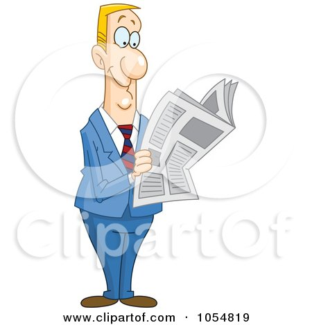 Royalty-Free Vector Clip Art Illustration of a Happy Businessman Reading A News Paper by yayayoyo