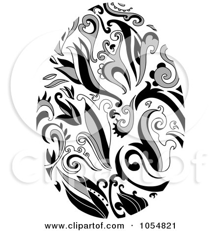 Royalty-Free Vector Clip Art Illustration of a Grayscale Floral Easter Egg by yayayoyo