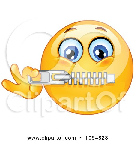 Royalty-Free Vector Clip Art Illustration of an Emoticon Zipping His Mouth by yayayoyo