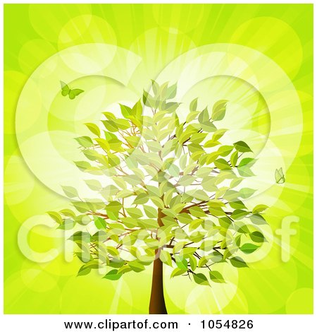 Royalty-Free Vector Clip Art Illustration of Butterflies And A Summer Tree Over Green by elaineitalia