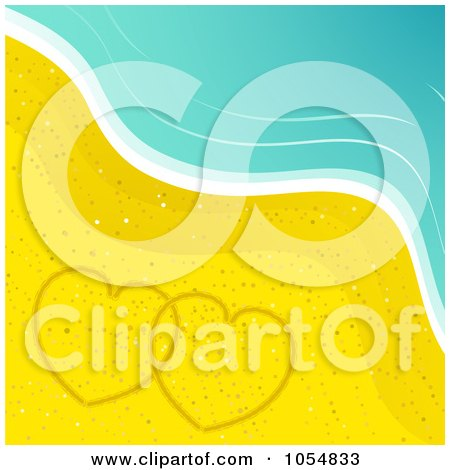 Royalty-Free Vector Clip Art Illustration of Two Hearts Drawn In The Sand On A Beach by elaineitalia
