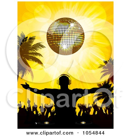 Royalty-Free Vector Clip Art Illustration of a Silhouetted Dj And Crowd Under A Golden Disco Ball On A Tropical Beach by elaineitalia