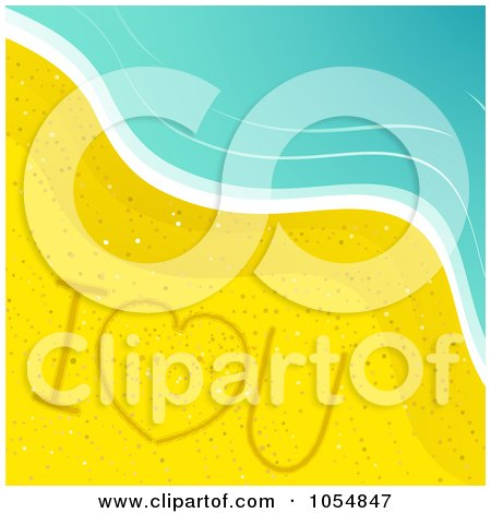 Royalty-Free Vector Clip Art Illustration of I Love You Drawn In The Sand On A Beach by elaineitalia