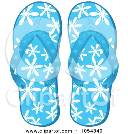 Clipart Blue Flip Flops With Hibiscus Flowers And Grunge