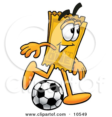 Clipart Picture of a Yellow Admission Ticket Mascot Cartoon Character Kicking a Soccer Ball by Toons4Biz