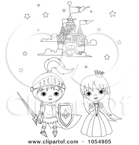 Royalty-Free Vector Clip Art Illustration of a Coloring Page Outline Of A Knight And Princess by Pushkin