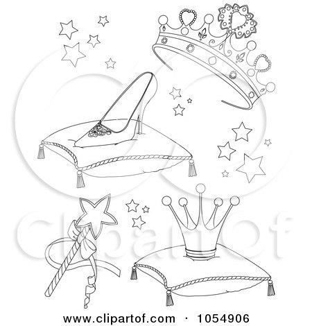 Royalty-Free Vector Clip Art Illustration of a Digital Collage Of Coloring Page Outlines Of Princess Items by Pushkin