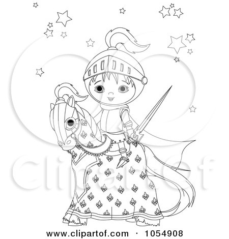 Royalty-Free Vector Clip Art Illustration of a Coloring Page Outline Of A Knight On A Horse by Pushkin