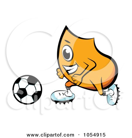 Royalty-Free Vector Clip Art Illustration of an Orange Blinky Playing Soccer by MilsiArt