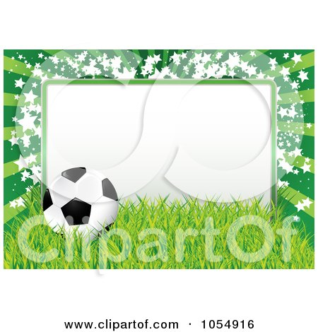 Royalty-Free Vector Clip Art Illustration of a Soccer Ball, Grass And Star Frame by MilsiArt