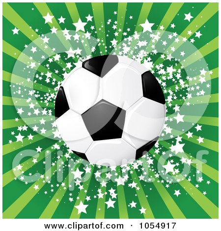 Royalty-Free Vector Clip Art Illustration of a Soccer Ball Against Green Rays And Stars by MilsiArt