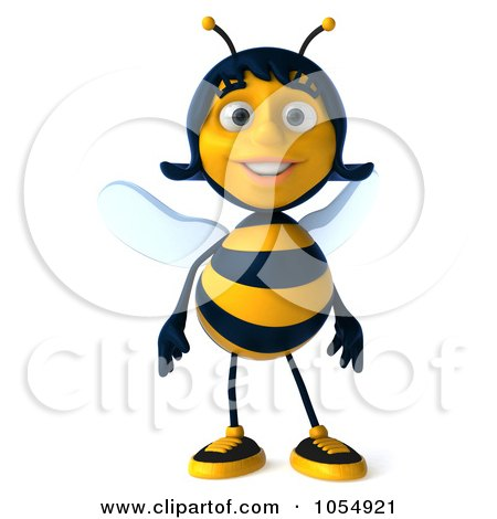 Royalty-Free CGI Clip Art Illustration of a 3d Female Bee by Julos