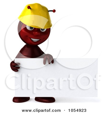 Royalty-Free CGI Clipart Illustration of a 3d Worker Ant Holding A Blank Sign Board - 1 by Julos