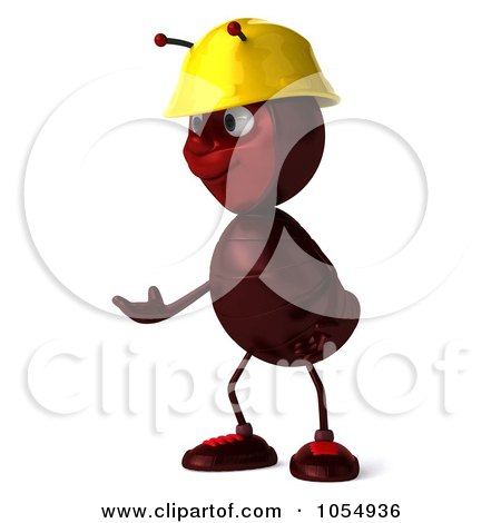 Royalty-Free CGI Clipart Illustration of a 3d Worker Ant Shrugging by Julos