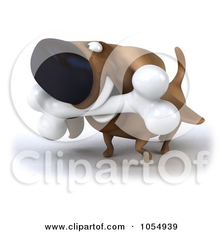 Royalty-Free CGI Clip Art Illustration of a 3d Wiener Dog Carrying A Bone - 2 by Julos