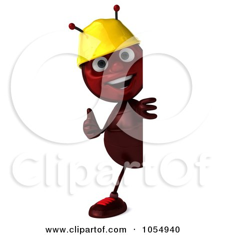 Royalty-Free CGI Clipart Illustration of a 3d Worker Ant Holding A Blank Sign Board - 2 by Julos