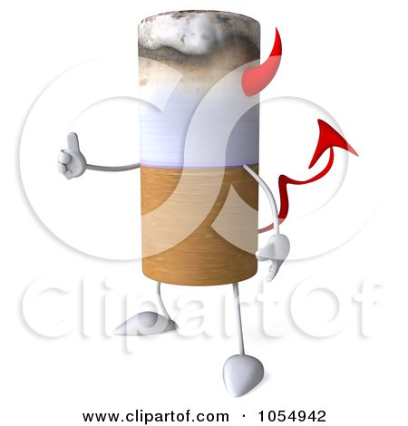 Royalty-Free CGI Clip Art Illustration of a 3d Devil Cigarette Holding A Thumb Up - 1 by Julos