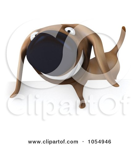 Royalty-Free CGI Clip Art Illustration of a 3d Wiener Dog With A Blank Sign - 2 by Julos