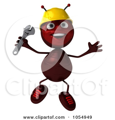 Royalty-Free CGI Clipart Illustration of a 3d Worker Ant Holding A Wrench And Jumping by Julos