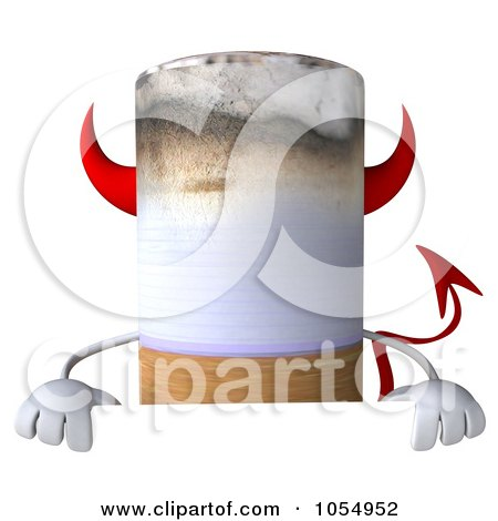 Royalty-Free CGI Clip Art Illustration of a 3d Devil Cigarette Holding A Blank Sign Board by Julos