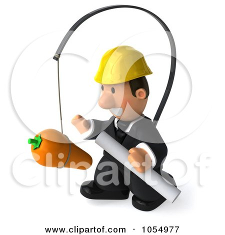 Royalty-Free CGI Clipart Illustration of a 3d Male Architect Chasing A Carrot by Julos